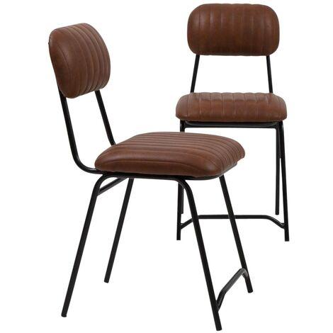 Lot de 2 chaises industrielles marron Dinner - Naturel