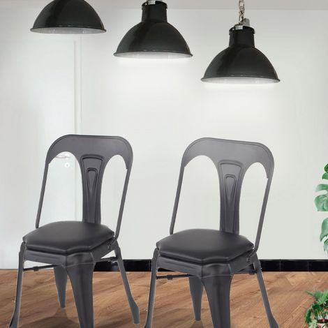 Lot de 2 chaises industrielles Noir + coussin - Holy