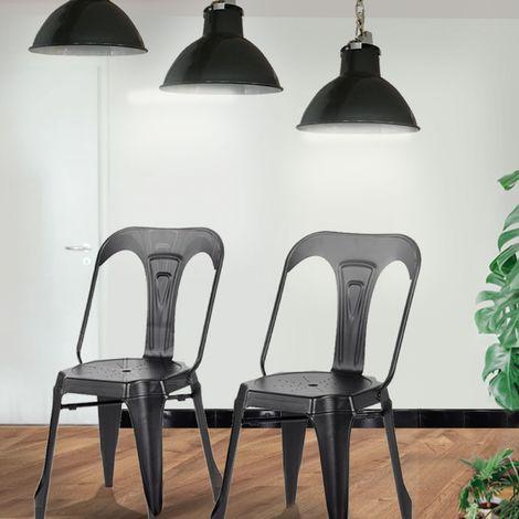 Lot de 2 chaises industrielles Noir - Lucy
