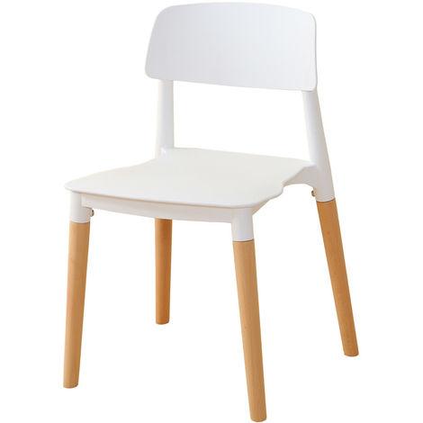 Lot de 2 chaises Interougehome modernes avec pieds en bois - blanc