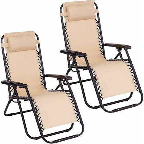 Lot de 2 chaises longues. Chaises longues pliantes et respirantes avec appuie-tête pour l'extérieur. Chaises inclinables et réglables pour le jardin extérieur, la piscine ou la terrasse. Lot de deux chaises beige