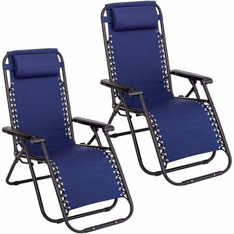 Lot de 2 chaises longues. Chaises longues pliantes et respirantes avec appuie-tête pour l'extérieur. Chaises inclinables et réglables pour le jardin extérieur, la piscine ou la terrasse. Lot de deux chaises bleues