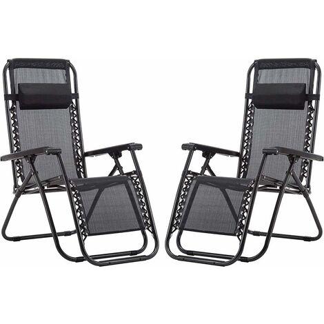Lot de 2 chaises longues. Chaises longues pliantes et respirantes avec appuie-tête pour l'extérieur. Chaises inclinables et réglables pour le jardin extérieur, la piscine ou la terrasse. Lot de deux chaises noires