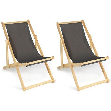 Lot de 2 chaises longues pliantes chilienne bois toile gris anthracite