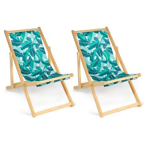 Lot de 2 chaises longues pliantes chilienne bois toile tropicale
