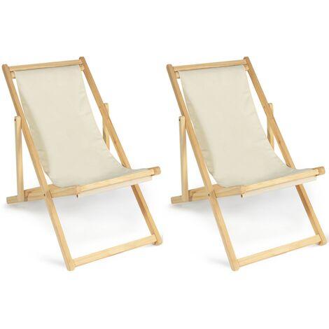 Lot de 2 chaises longues pliantes en bois avec toile écrue