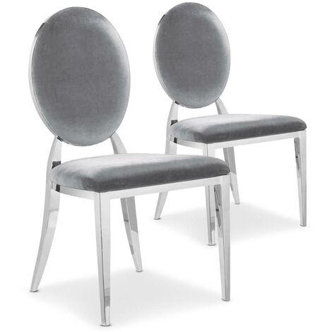 """main image of """"Lot de 2 chaises médaillon Sofia velours Argent - Argent"""""""