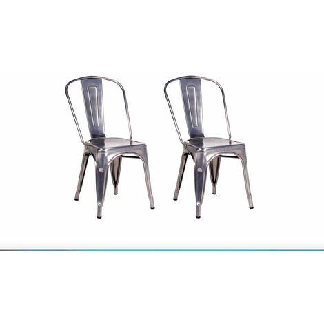 Lot de 2 chaises mod. Tolix en acier gris galvanisé