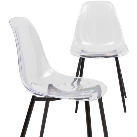 Lot de 2 chaises plexi transparente et métal noir