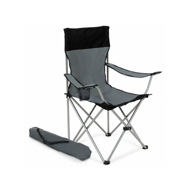 Lot de 2 chaises pliante camping + housse grise - Gris