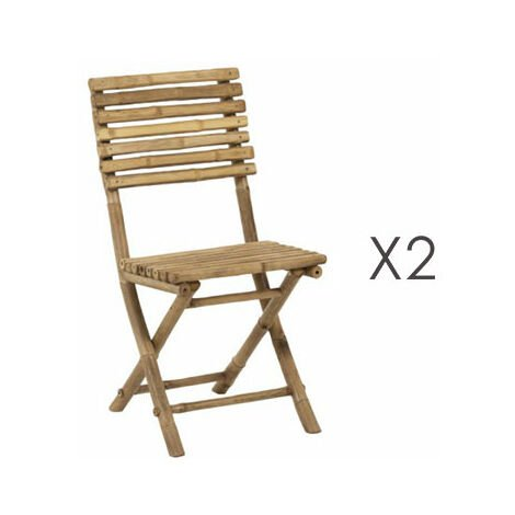 Lot de 2 chaises pliantes 45x55x95 cm en bambou naturel ROMY