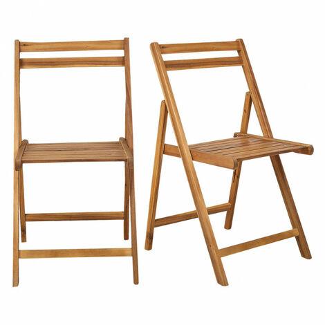 Lot de 2 chaises pliantes de jardin en acacia FSC huilée - LILI 7946 - Bois