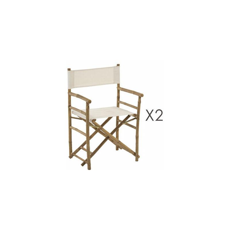Pliantes Tissu Chaises 2 Blanc De Lot En Et Bambou Tenko