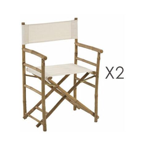 Lot de 2 chaises pliantes en bambou et tissu blanc TENKO