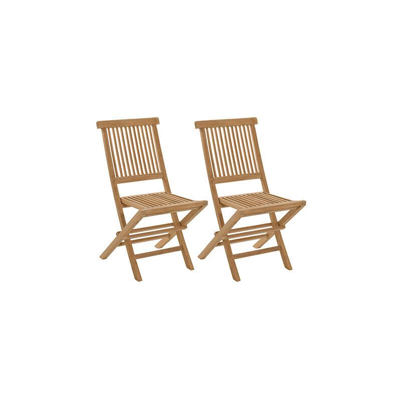 Lot de 2 chaises pliantes en teck massif GARDENA