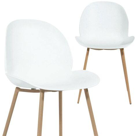 Lot de 2 chaises scandinaves blanches design tulipe