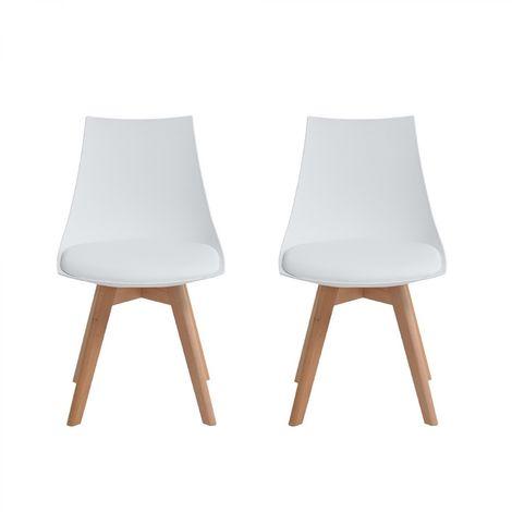 Lot de 2 chaises scandinaves blanches pieds bois Isa