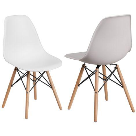 Lot de 2 Chaises Scandinaves Blanches Style Eiffel - Salle à Manger, Cuisine