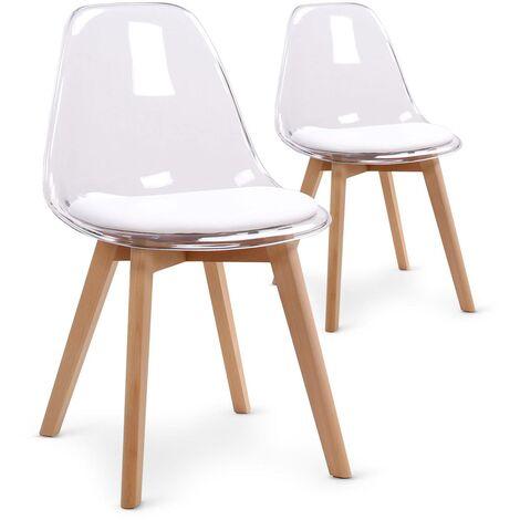 Lot de 2 chaises scandinaves Bovary Plexi Blanc - Blanc