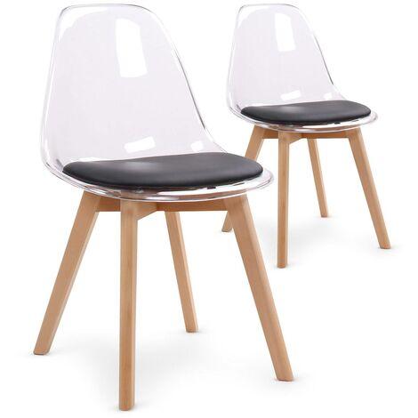 Lot de 2 chaises scandinaves Bovary Plexi Noir - Noir
