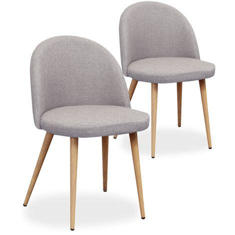 Lot de 2 chaises scandinaves Cecilia tissu Gris