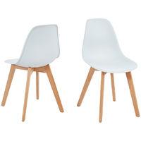 Lot de 2 chaises scandinaves coloris blanches en polypropylène et hêtre massif - Dim : 47 x 52 x 85 cm -PEGANE-
