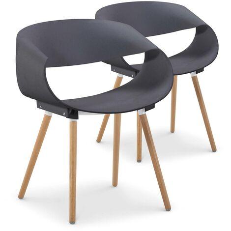 Lot de 2 chaises scandinaves design Zenata Blanc - Blanc