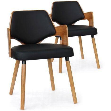 Lot de 2 chaises scandinaves Dima Bois Naturel et Noir - Noir