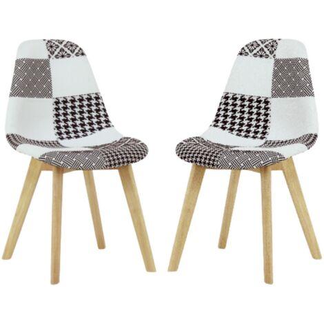 Lot de 2 Chaises Scandinaves en Tissu Patchwork - Coloris Noir & Blanc - Salle à Manger, Cuisine, Bureau