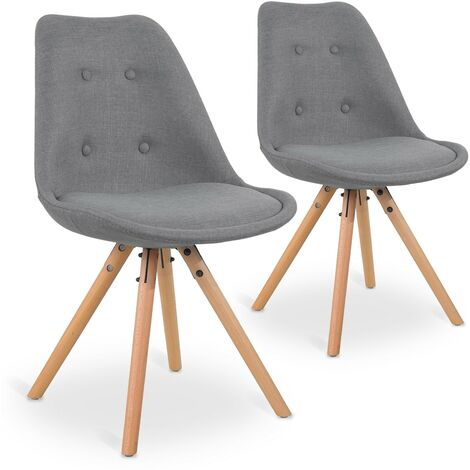 Lot de 2 chaises scandinaves Frida tissu Gris