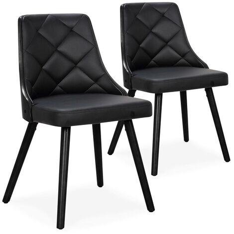 Lot de 2 chaises scandinaves Lalix Bois Noir et Simili Noir - Noir