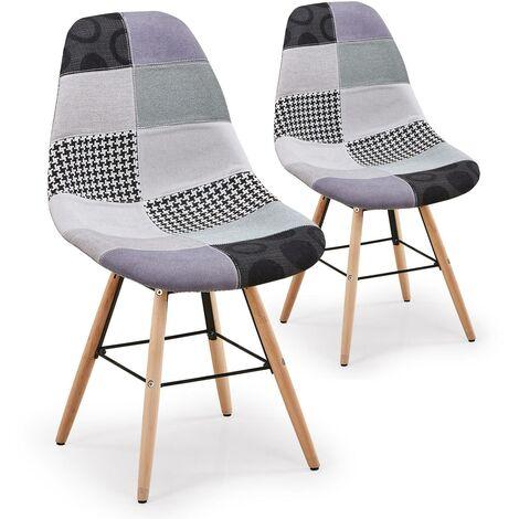 Lot de 2 chaises scandinaves Lisa Patchwork Gris - Gris