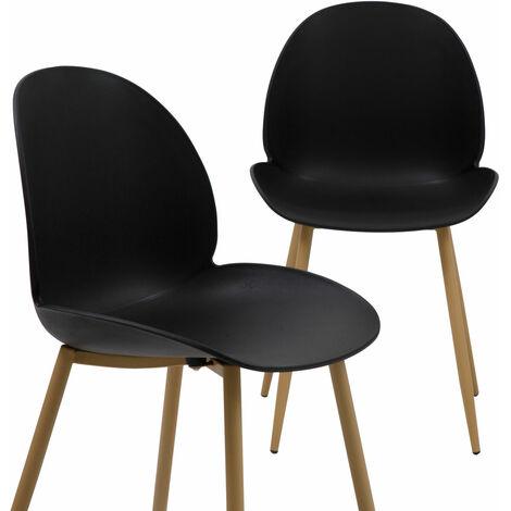 Lot de 2 chaises scandinaves noires design tulipe