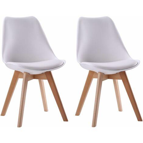 Lot de 2 chaises scandinaves NORA blanches avec coussin - Blanc