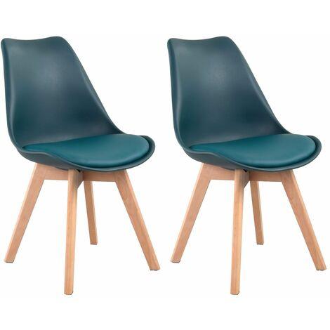 Lot de 2 chaises scandinaves NORA bleues avec coussin - Bleu