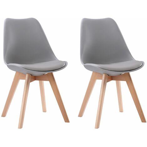 Lot de 2 chaises scandinaves NORA grises avec coussin - Gris