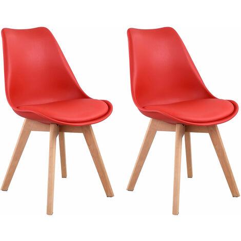 Lot de 2 chaises scandinaves NORA rouge avec coussin - Rouge
