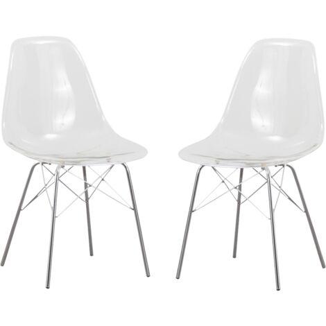 Lot de 2 chaises scandinaves plexi transparente, piétement tour Eiffel