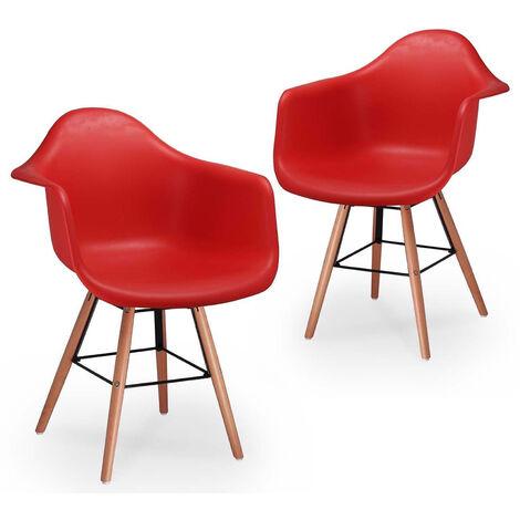 Lot de 2 chaises scandinaves rouges avec accoudoirs NINA