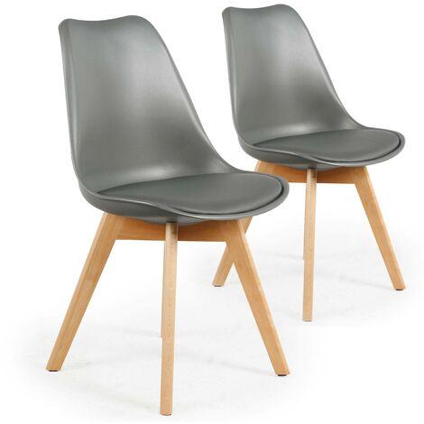 Lot de 2 chaises style scandinave Bovary Noir - Noir