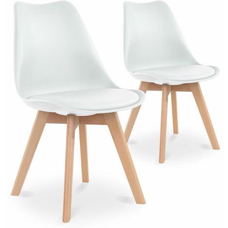 Lot de 2 chaises style scandinave Catherina Blanc