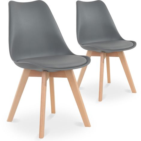 Lot de 2 chaises style scandinave Catherina Gris