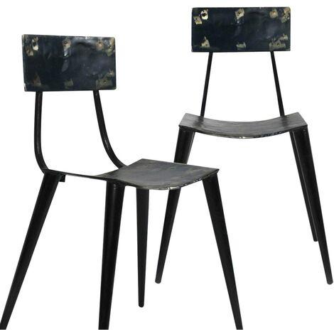 Lot de 2 chaises vintages en vieux bidons métal