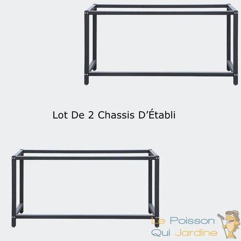 Lot De 2 Chassis d'Établi, 150 x 50 x 80cm, Capacité de Charge : 250kg - Noir