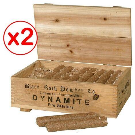 Lot de 2 coffrets déco de 20 allume-feux - bâtons dynamite