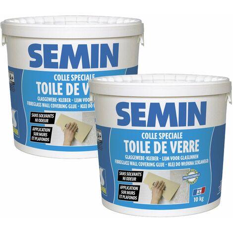 Lot de 2 colles en pâte pour toiles de verre Semin - prête à l'emploi - seau de 10 kg