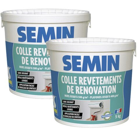 Lot de 2 colles pour revêtements de rénovation lisse en pâte Semin - prête à l'emploi - seau de 5 kg