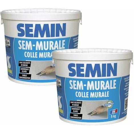 Lot de 2 colles pour toiles de verre et revêtements muraux légers en pâte Semin Sem-Murale - prêt à l'emploi - seau de 5 kg