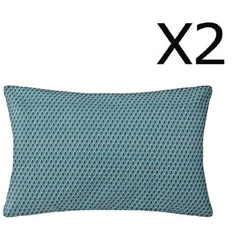 """main image of """"Lot de 2 Coussins bleu canard déhoussable - 30 x 50 cm -PEGANE-"""""""