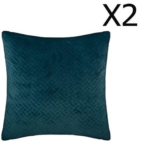 """main image of """"Lot de 2 Coussins bleu canard en velours - 40 x 40 cm -PEGANE-"""""""